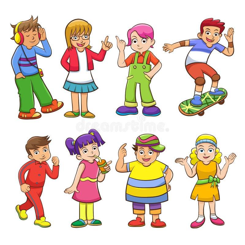 Sistema de niños felices de la historieta stock de ilustración