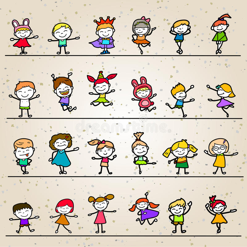 Sistema de niños felices de la historieta del dibujo de la mano del colorante libre illustration