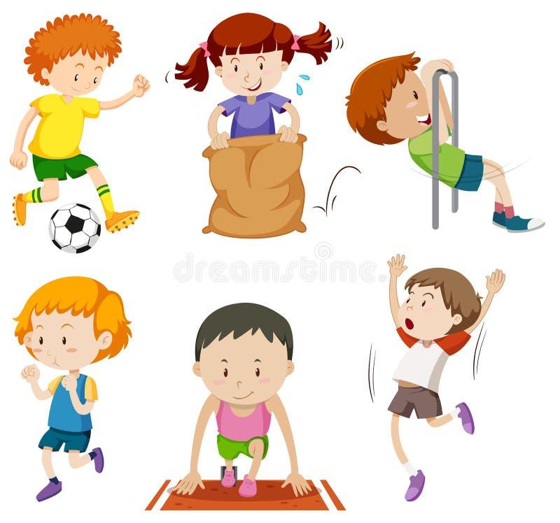 Sistema de niños que hacen activites que se divierten ilustración del vector