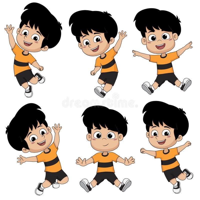 Sistema de niños que saltan en el aire Vector y ejemplo libre illustration
