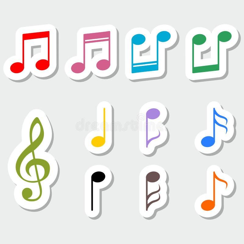 Sistema de notas de la música, diseño de la etiqueta engomada del color ilustración del vector