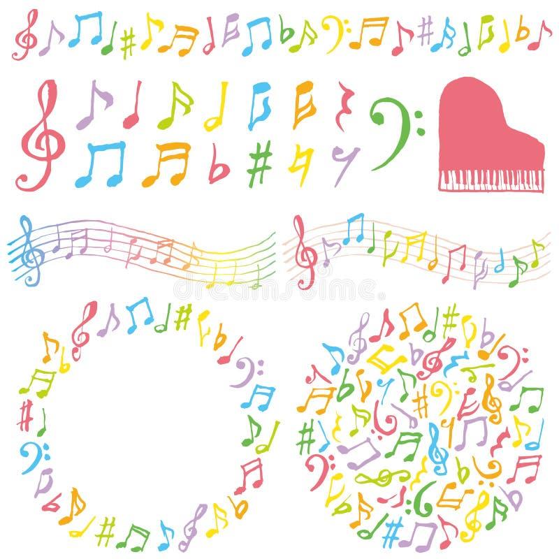 Sistema de notas musicales coloridas stock de ilustración