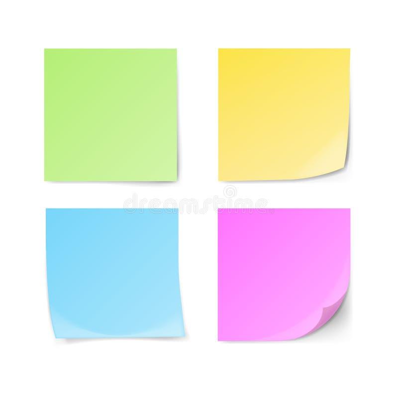 Sistema de notas pegajosas verdes, amarillas, azules, violetas libre illustration