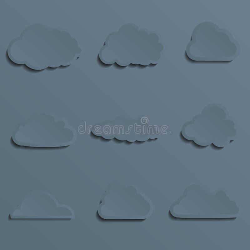 Sistema de nubes de un corte del papel stylish Con la sombra libre illustration