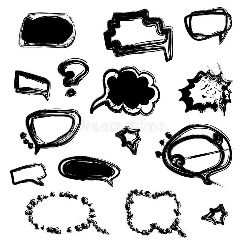 Sistema de nubes del discurso en estilo cómico fotografía de archivo libre de regalías