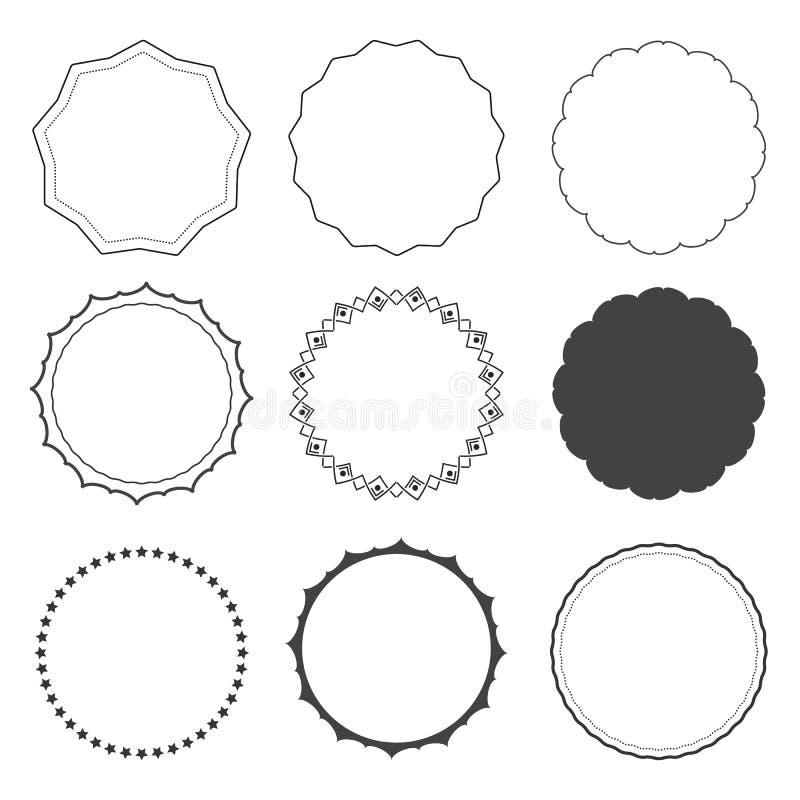 Sistema de nueve bastidores del diseño, fronteras, círculos ilustración del vector