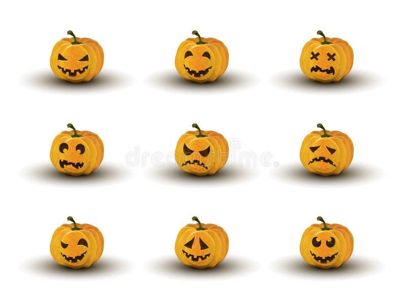 Sistema de nueve caras de la calabaza de Halloween con emociones stock de ilustración