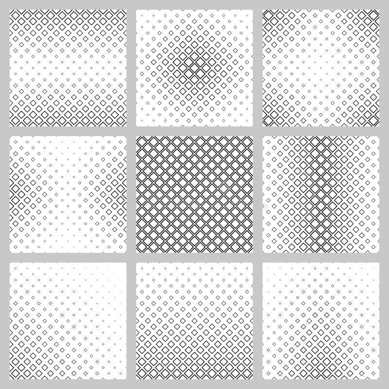 Sistema de nueve diseños cuadrados del modelo de la diagonal ilustración del vector