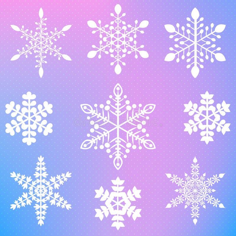 Sistema de nueve diversos copos de nieve elegantes imágenes de archivo libres de regalías