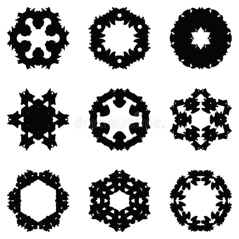 Sistema de nueve elementos del drenaje de la mano para el diseño ilustración del vector