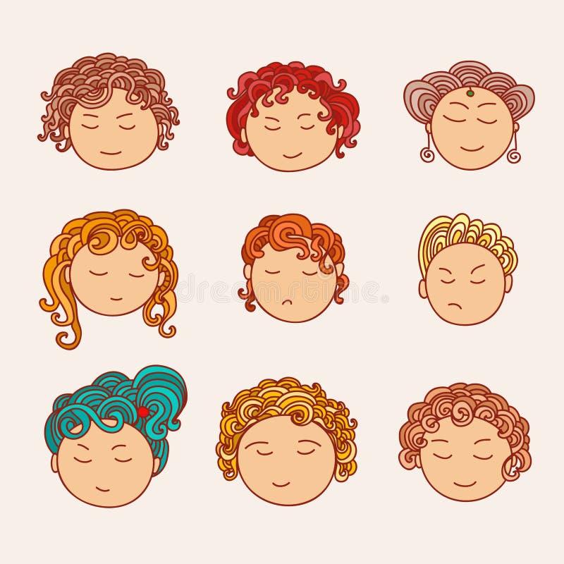 Sistema de nueve linda caras dibujadas diversa mano con un pelo rizado multicolor libre illustration