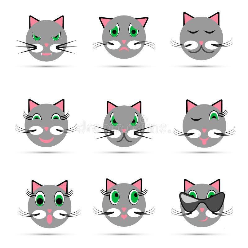Sistema de nueve sonrisas del gato ilustración del vector