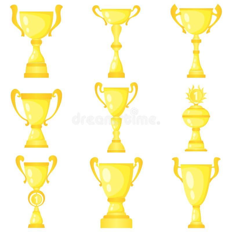 Sistema de nueve tazas de campeón del trofeo del vector en oro ilustración del vector