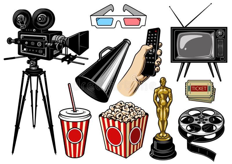 Sistema de objetos del cine stock de ilustración