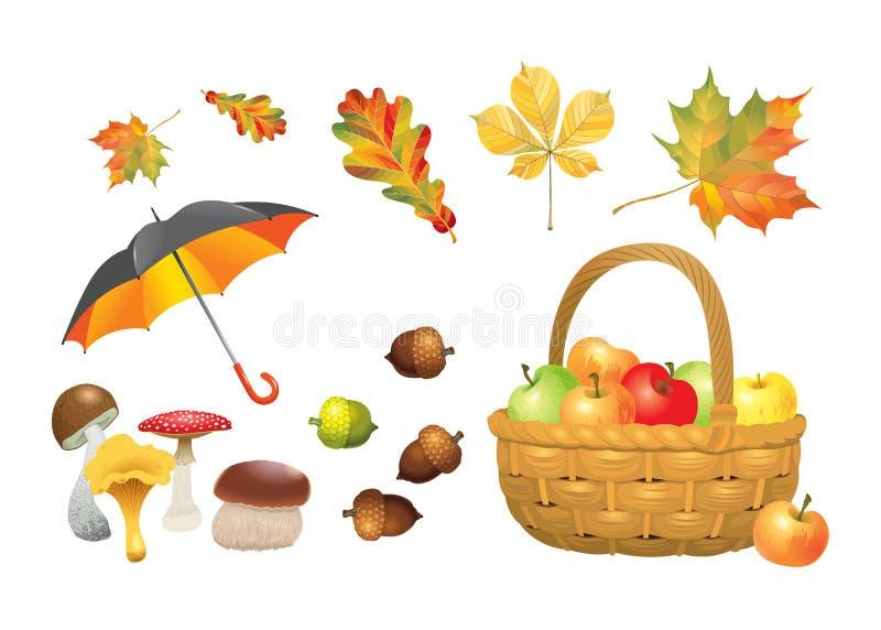 Sistema de objetos del otoño Setas, paraguas, cesta de mimbre con las manzanas, bellotas y hojas Colección del ejemplo del vector stock de ilustración
