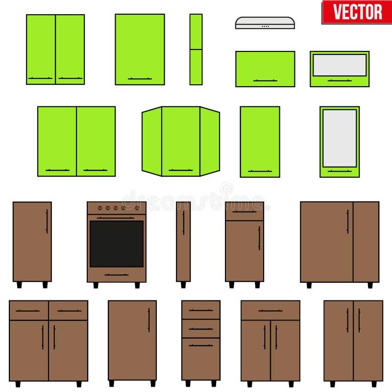 Sistema De Objetos Modulares De La Cocina Ilustración del Vector ...