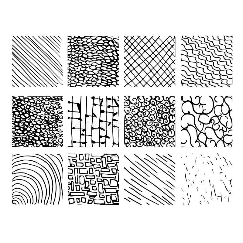 Sistema de ocho modelos de onda blancos y negros inconsútil que tejan libre illustration
