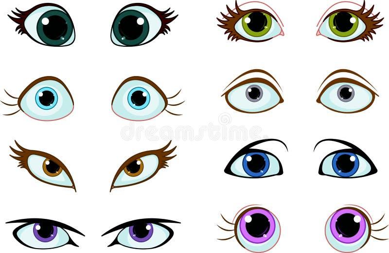 Sistema de ojos de la historieta ilustración del vector