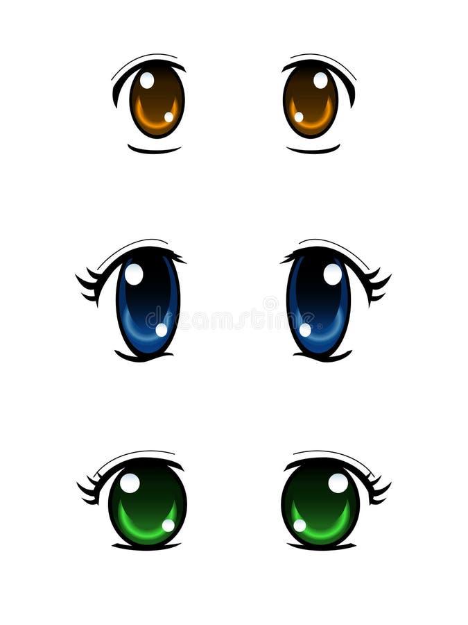 Sistema de ojos del estilo del animado aislados en el fondo blanco libre illustration