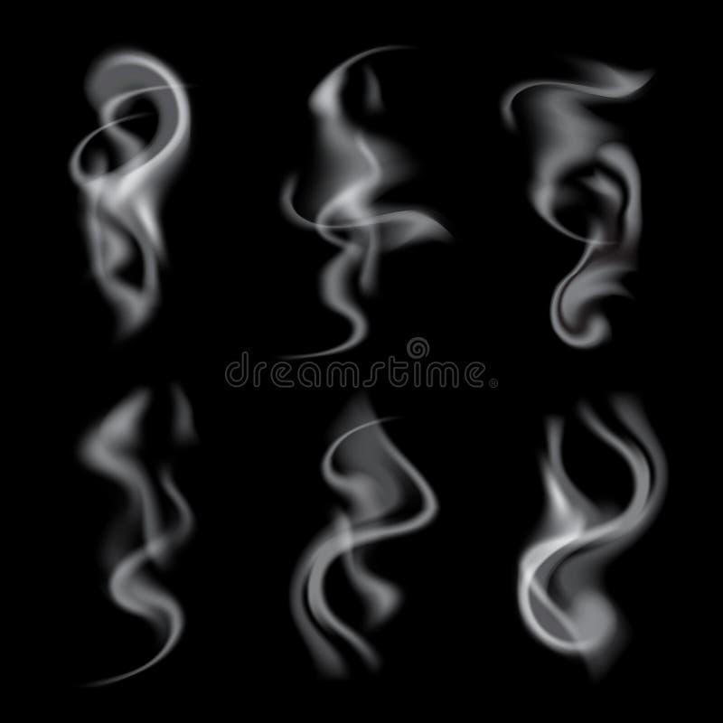 Sistema de ondas realistas delicadas del humo del cigarrillo stock de ilustración
