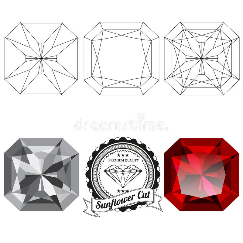 Sistema de opiniones de la joya del corte del girasol libre illustration