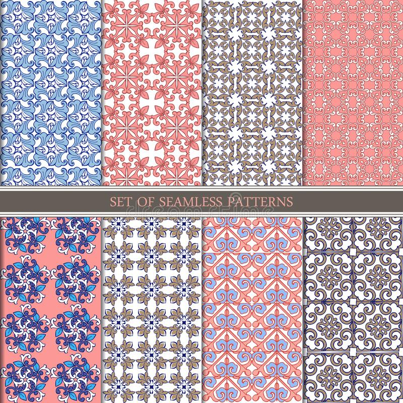 Sistema de oriental tradicional, modelos inconsútiles indios Ornamento inconsútil étnico determinado en rosado, azul, marrón Part ilustración del vector