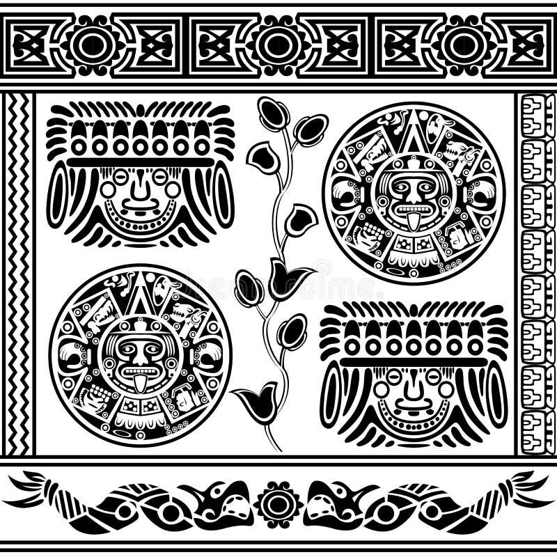 Sistema de ornamentos americanos antiguos ilustración del vector
