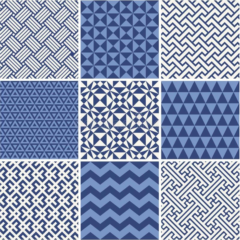 Sistema de ornamentos geométricos monocromáticos simples stock de ilustración