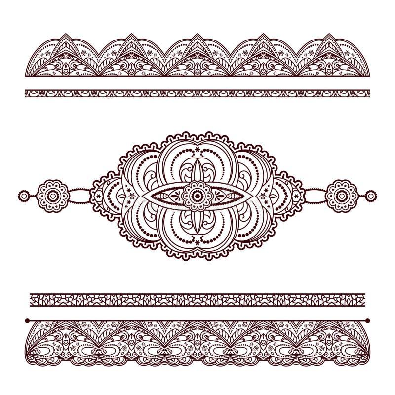 Sistema de ornamentos y de fronteras del tatuaje de la alheña en blanco stock de ilustración