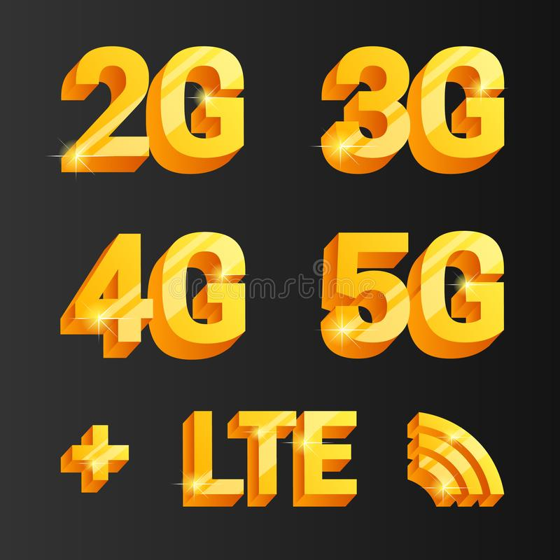 Sistema de oro del vector 2g, 3g, 4g, iconos del connetcion 5g libre illustration