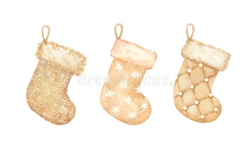 Sistema de oro del vintage de ingenio hecho punto y de lana de las medias de la Navidad stock de ilustración