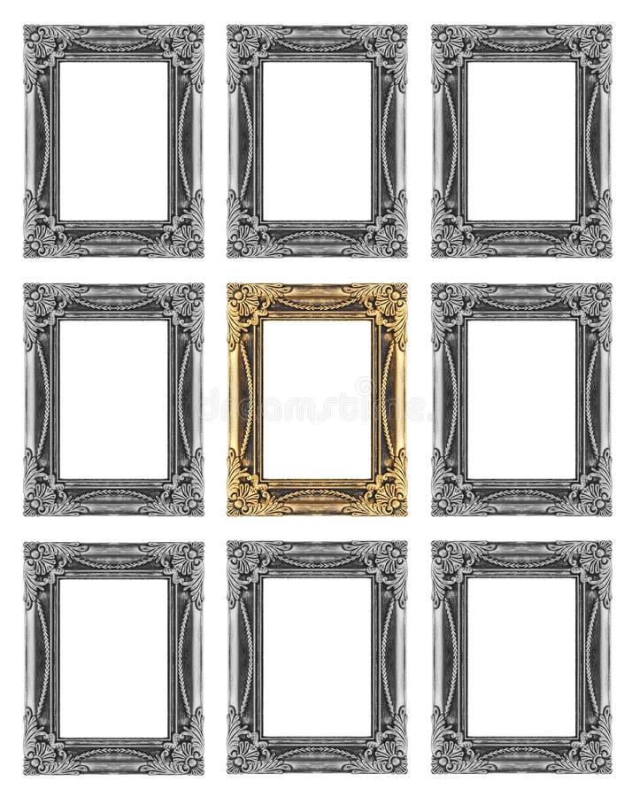 Sistema 9 de oro del vintage - marco gris aislado en el fondo blanco imagen de archivo