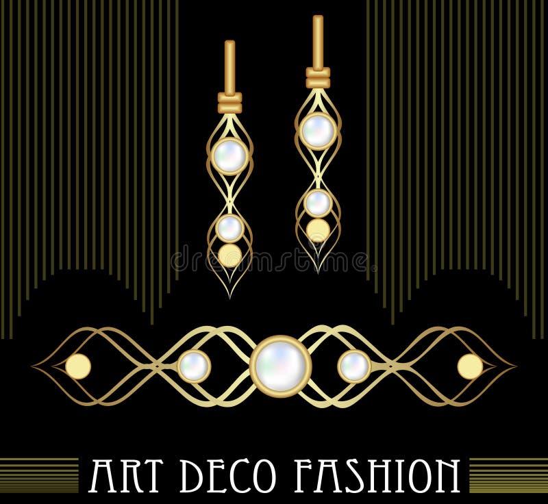 Sistema de oro de la joya del art déco Pendientes y broche con las perlas costosas Joyería agradable del victorian libre illustration