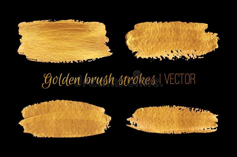 Sistema de oro de los movimientos de la brocha Diseño del vector ilustración del vector