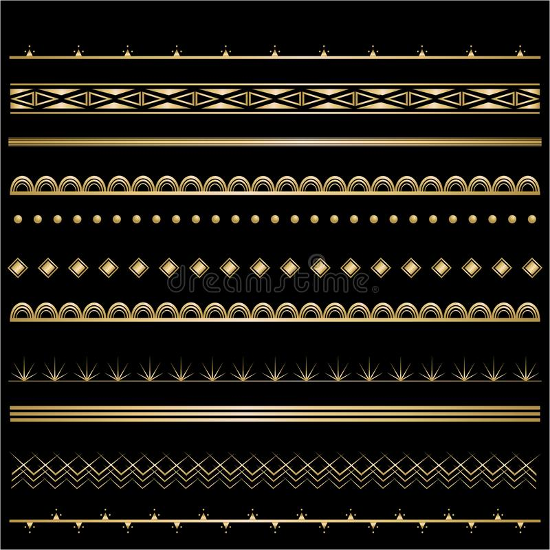 Sistema de oro-negro de la plantilla de Art Deco de los bastidores para la decoración libre illustration