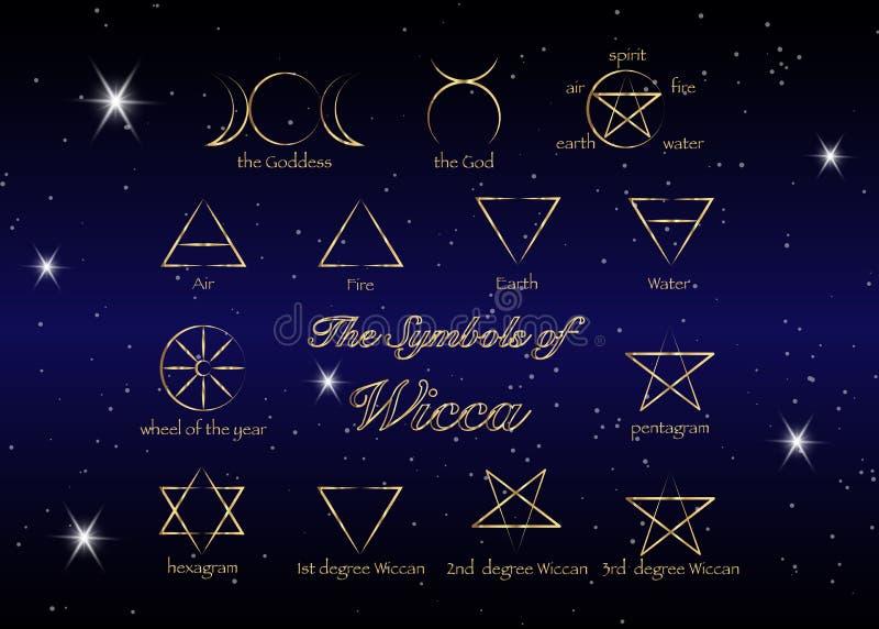 Sistema de oro de runas de las brujas, símbolos wiccan de la adivinación Símbolos ocultos antiguos, aislados en negro Ilustración libre illustration