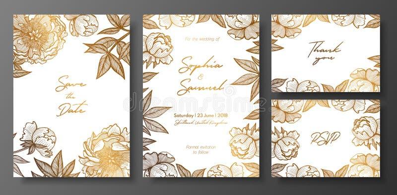 Sistema de oro y de invitaciones de boda blancas con las peonías Plantillas florales de las tarjetas del oro para la reserva la f ilustración del vector