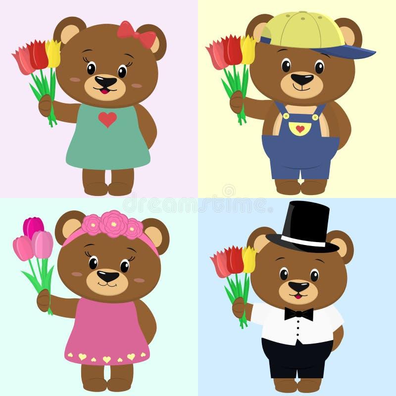 Sistema de osos marrones lindos en ropa con un ramo de tulipanes en el estilo de una historieta ilustración del vector