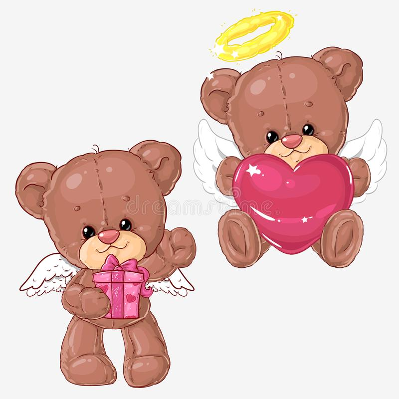 Sistema de osos de peluche lindos con los corazones y la caja de regalo para las tarjetas de felicitación y de scrapbooking para  stock de ilustración