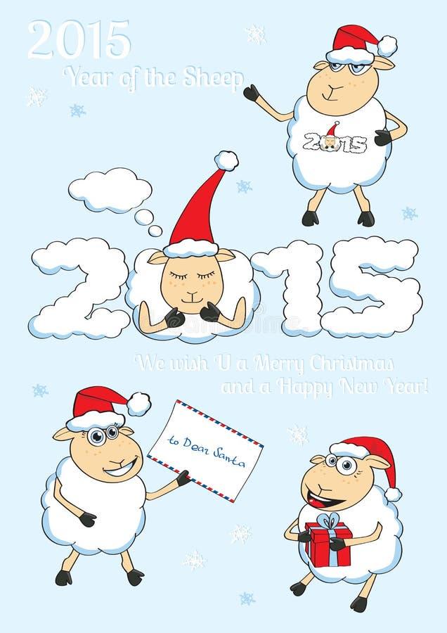 Sistema de ovejas de la Navidad del estilo de la historieta del vector foto de archivo libre de regalías