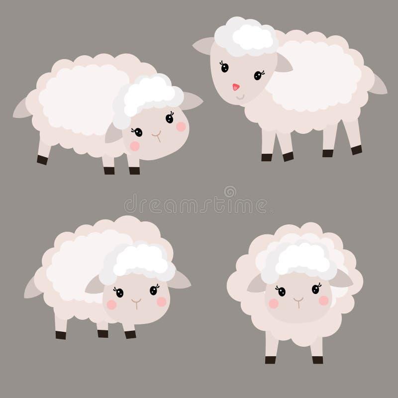 Sistema de ovejas lindas stock de ilustración