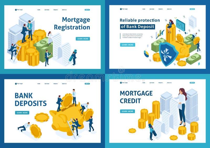 Sistema de páginas de aterrizaje del concepto isométrico de elegir los productos de las actividades bancarias, hipoteca, depósito stock de ilustración