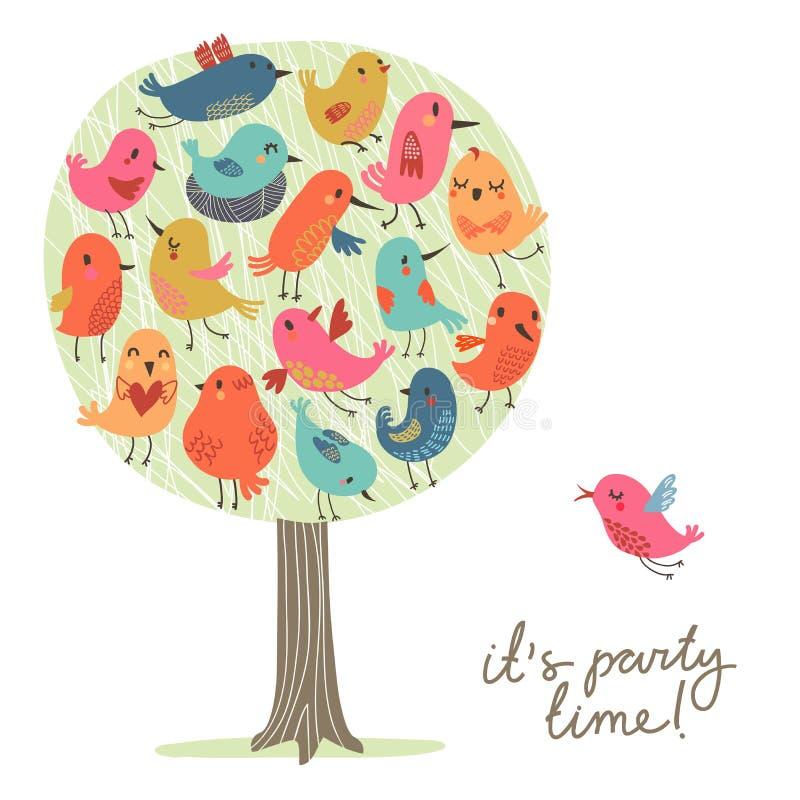 Sistema de pájaros lindos en el árbol Partido del ` s del pájaro stock de ilustración