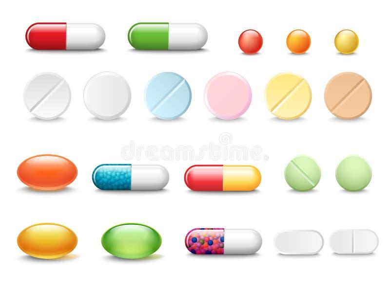 Sistema de píldoras realistas y de cápsulas del vector aisladas en el fondo blanco Medicinas, tabletas, cápsulas, droga de stock de ilustración