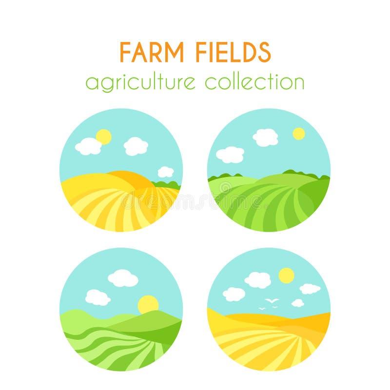 Sistema de paisajes de los campos de granja Insignias redondas con la cosecha en campo Campo verde de la historieta de la siembra stock de ilustración