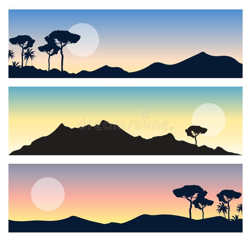Sistema de paisajes hermosos Visiónes panorámicas con el sol, el cielo colorido, las montañas y las siluetas de los árboles stock de ilustración