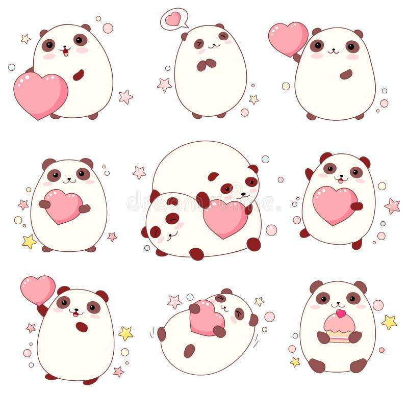 Sistema de pandas lindas en estilo del kawaii stock de ilustración