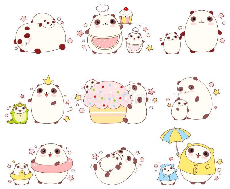 Sistema de pandas lindas en estilo del kawaii libre illustration