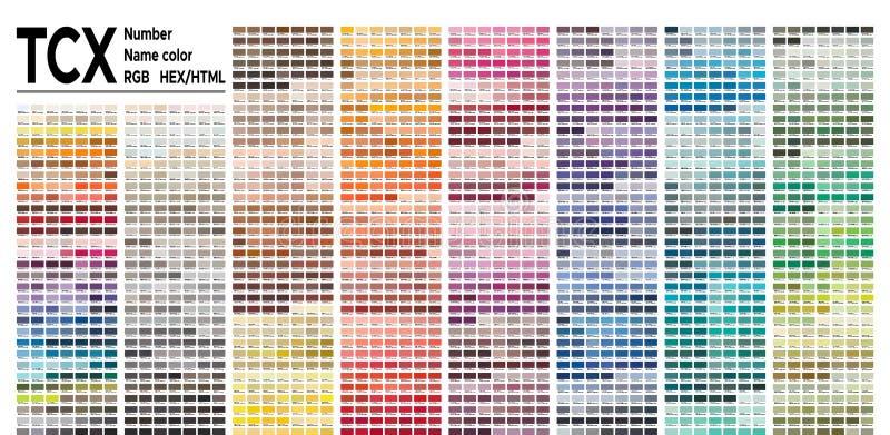 Sistema de Pantone FHI da tabela de cor Paleta de cores do vetor com o número, nomeado amostras de folha da cor, carta para confo