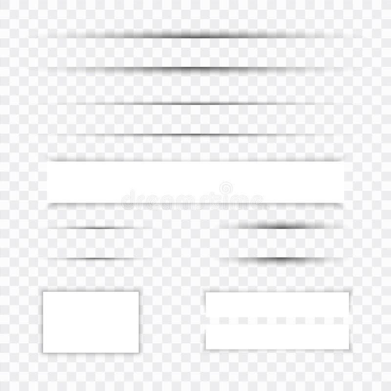 Sistema de papel realista del efecto de sombra Bandera del Web Elemento para hacer publicidad y mensaje promocional en transparen libre illustration